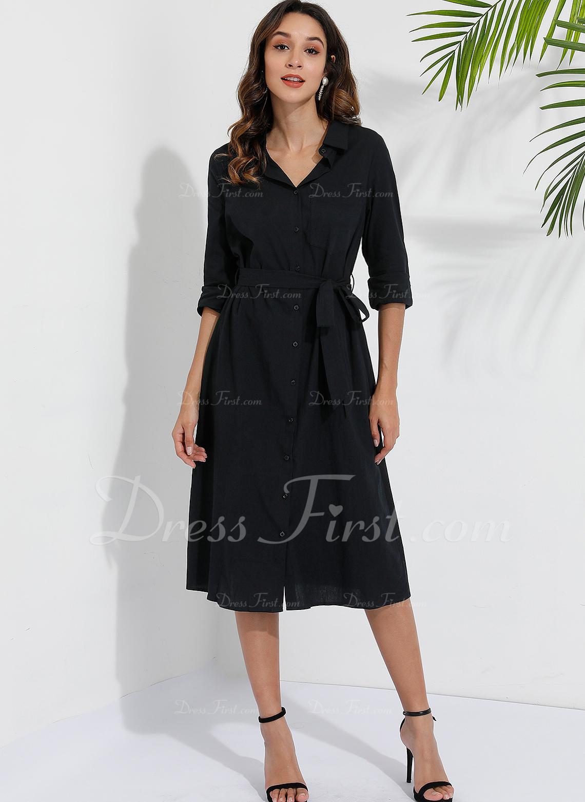 Midi Kołnierzyk koszuli Bawełna Przycisk/Jednolity Długie rękawy Modne Suknie