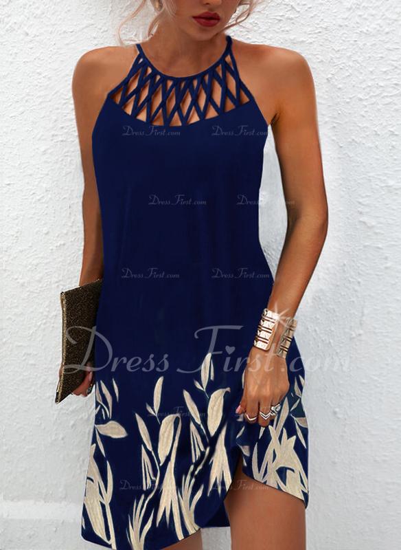 Floral Print Shift Sleeveless Mini Elegant Dresses