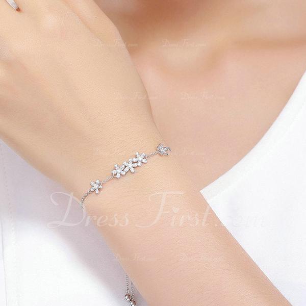 Platinum Plated Link & Chain Bransoletki dla nowożeńców Bransoletki Bolo Z kwiat - Walentynki Prezenty Dla Niej