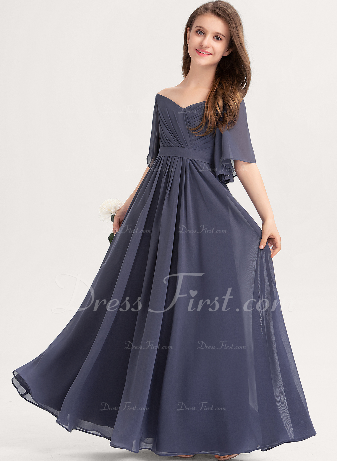 A-Line Off-the-Shoulder Floor-Length Chiffon Junior Bridesmaid Dress With Ruffle Bow(s)