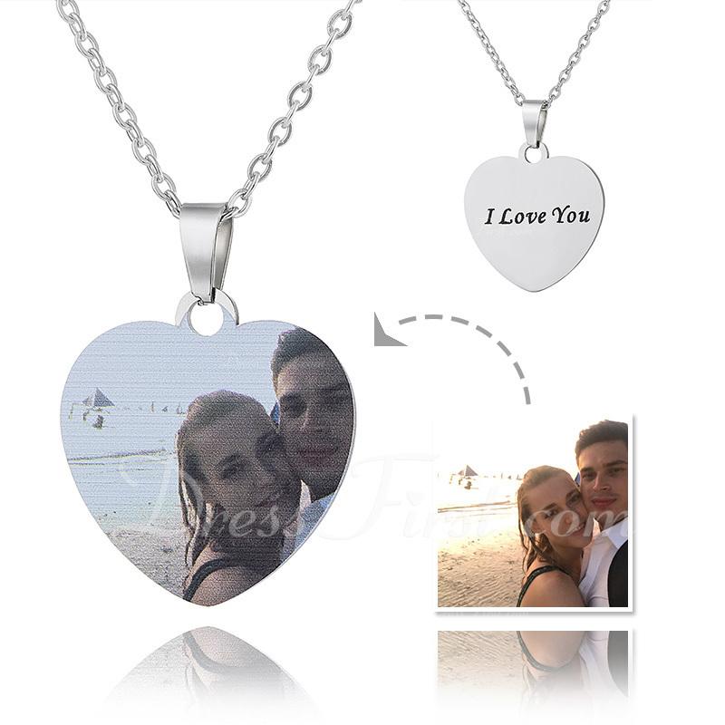 Personalizado Plata Corazón Grabado / Grabado Impresión En Color Collar De La Foto - Regalos Del Día De La Madre