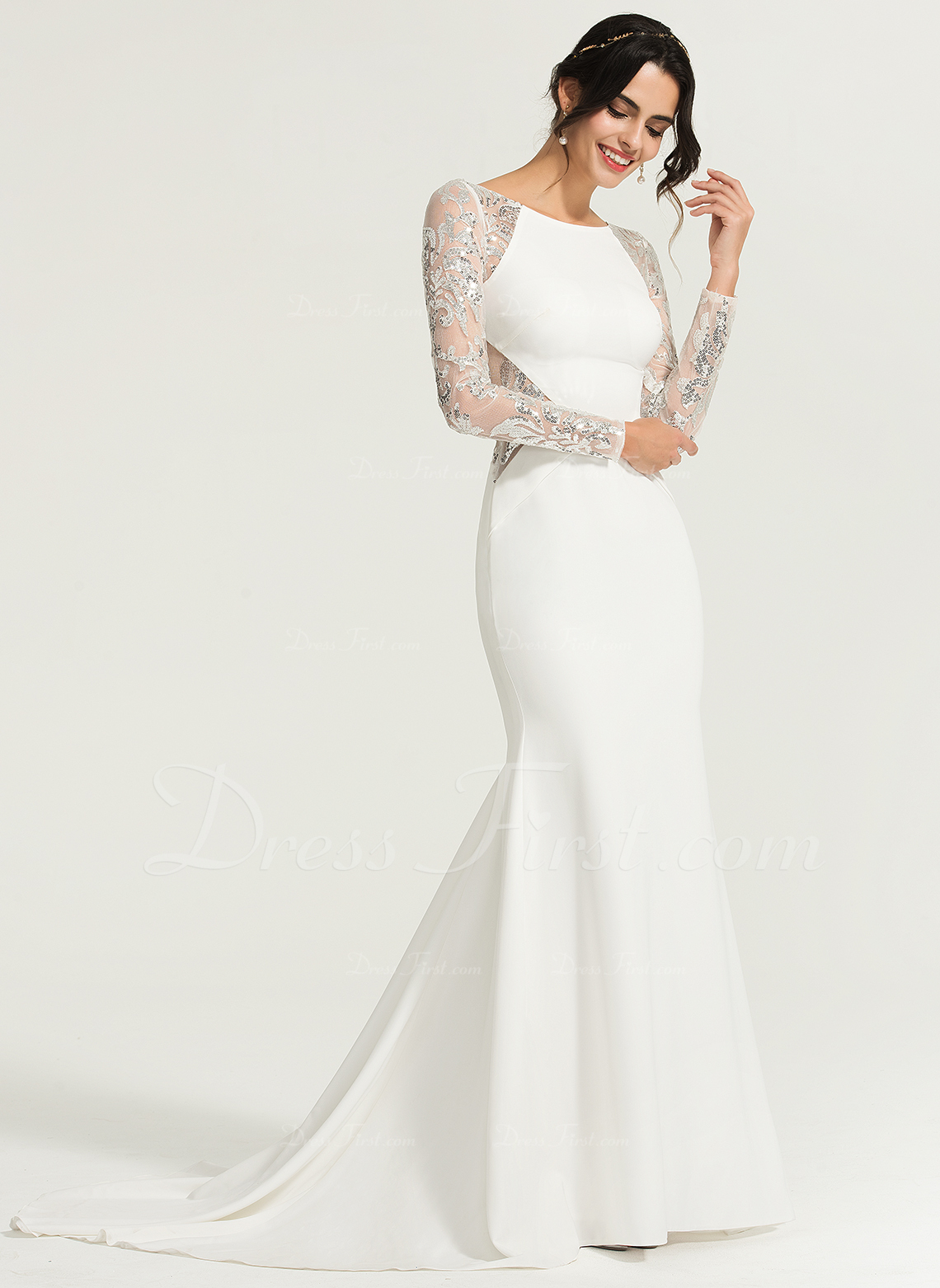b64035b6 Trumpet/Mermaid Scoop Neck Sweep Train Stretch Crepe Evening Dress With  Sequins #167717. Evening Dresses