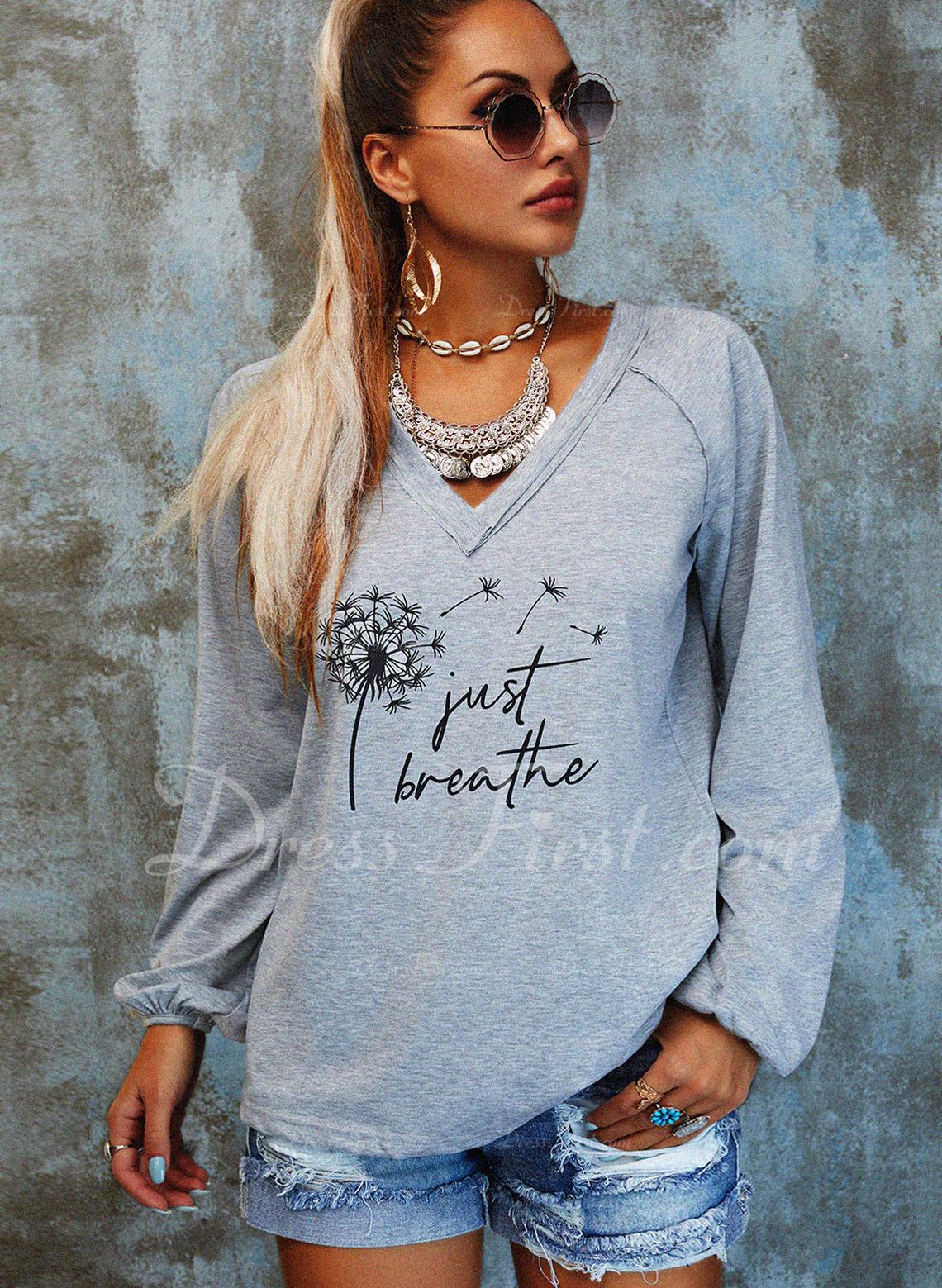 Dandelion Print V-Neck Long Sleeves Casual Blouses