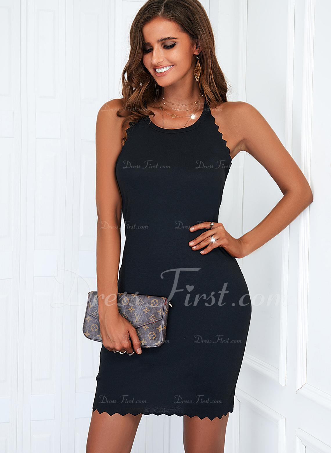 Sólido Ajustado Sin mangas Mini Pequeños Negros Casual Vestidos de moda
