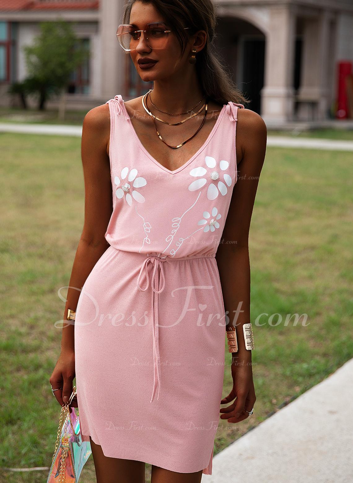 Floral Print Sheath Sleeveless Mini Casual Dresses