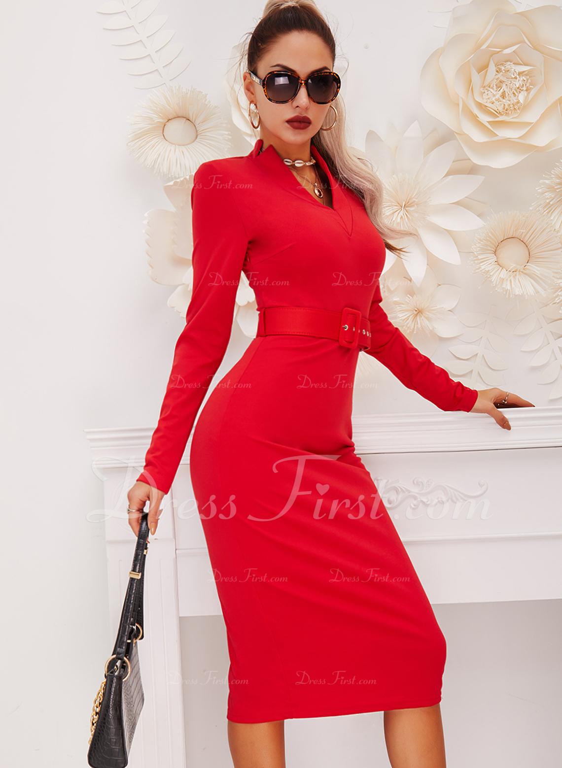 Jednolity Bodycon Długie rękawy Midi Mała czarna Elegancki Ołówkowa Modne Suknie