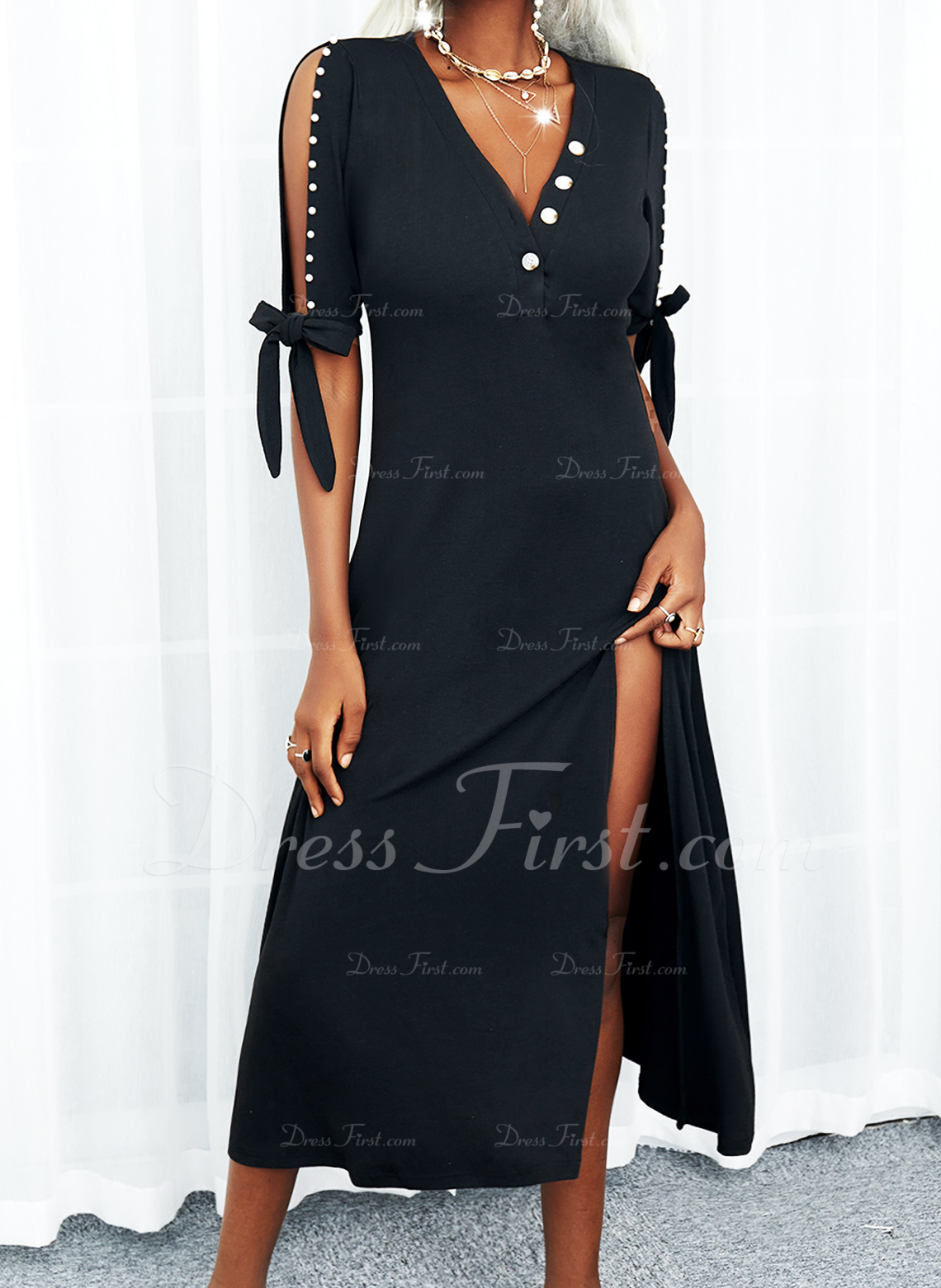Sólido Vestido línea A Mangas 1/2 Midi Pequeños Negros Casual Patinador Vestidos de moda