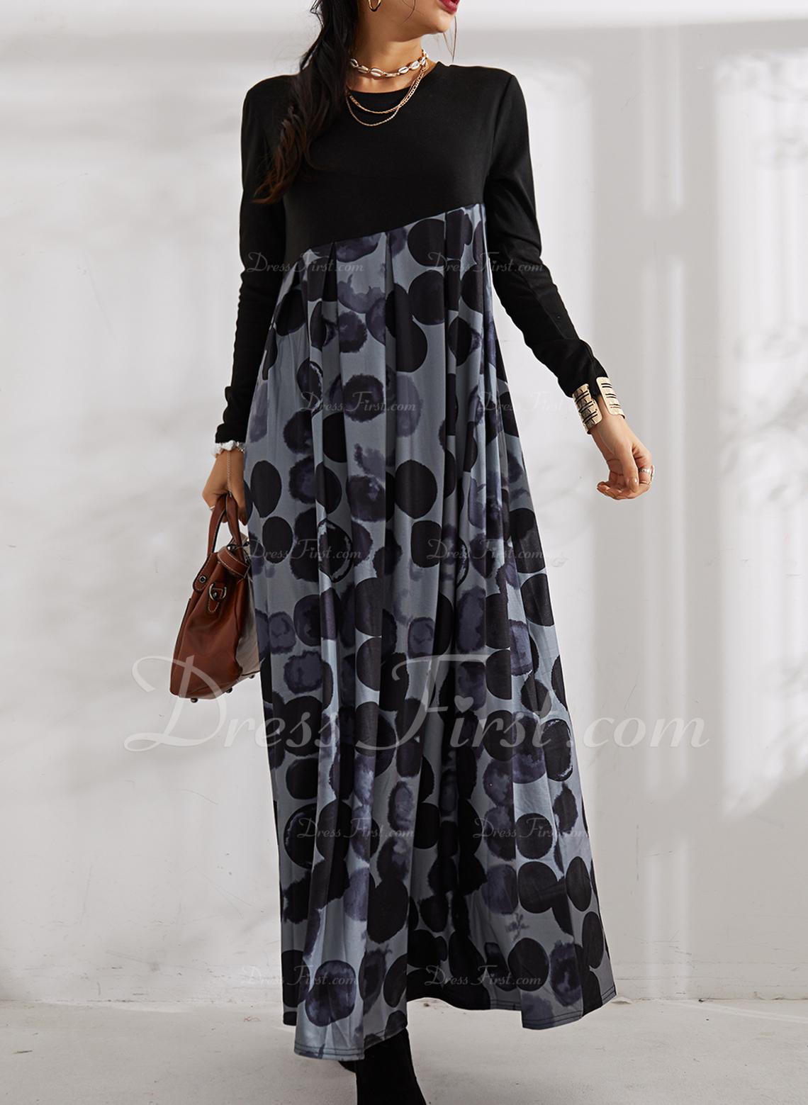 Print A-linjeklänning Långa ärmar Maxi Fritids skater Modeklänningar