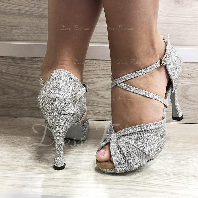 Women's Leatherette Heels Latin With Rhinestone Dance Shoes