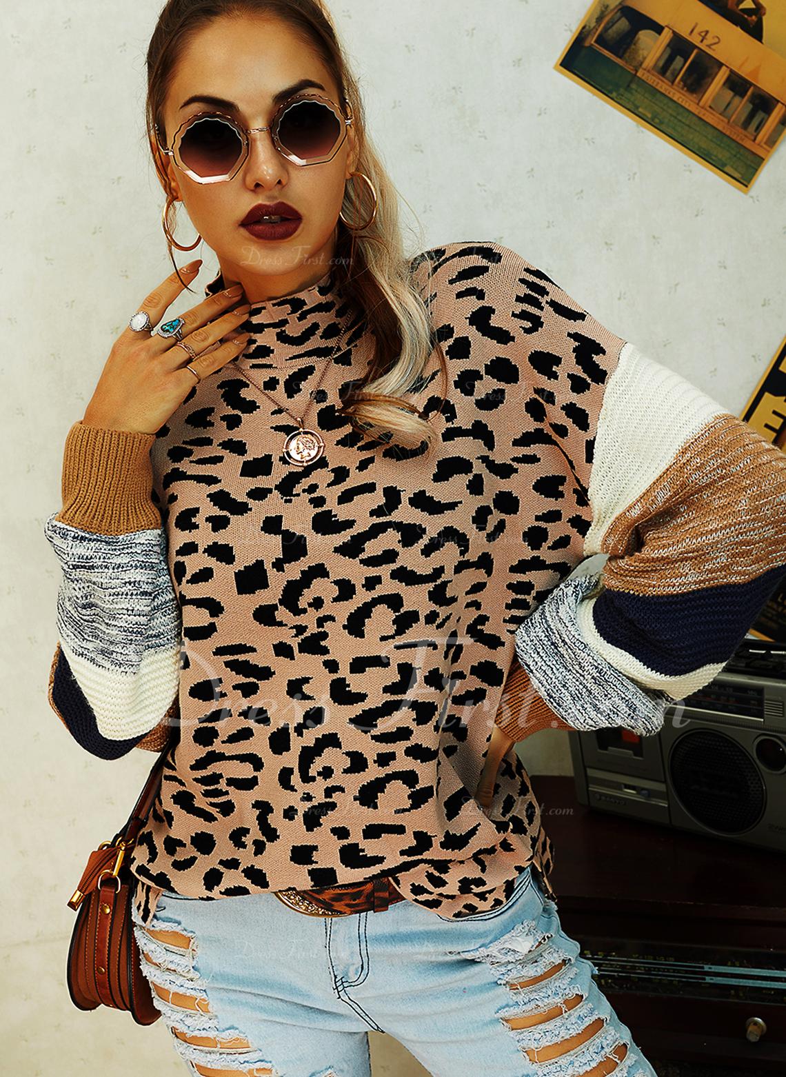 Rund hals Casual Leopard Color Block Trøjer