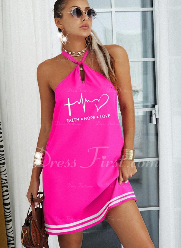 Impresión raya Corazón Carta Vestidos sueltos Sin mangas Mini Casual Vestidos de moda
