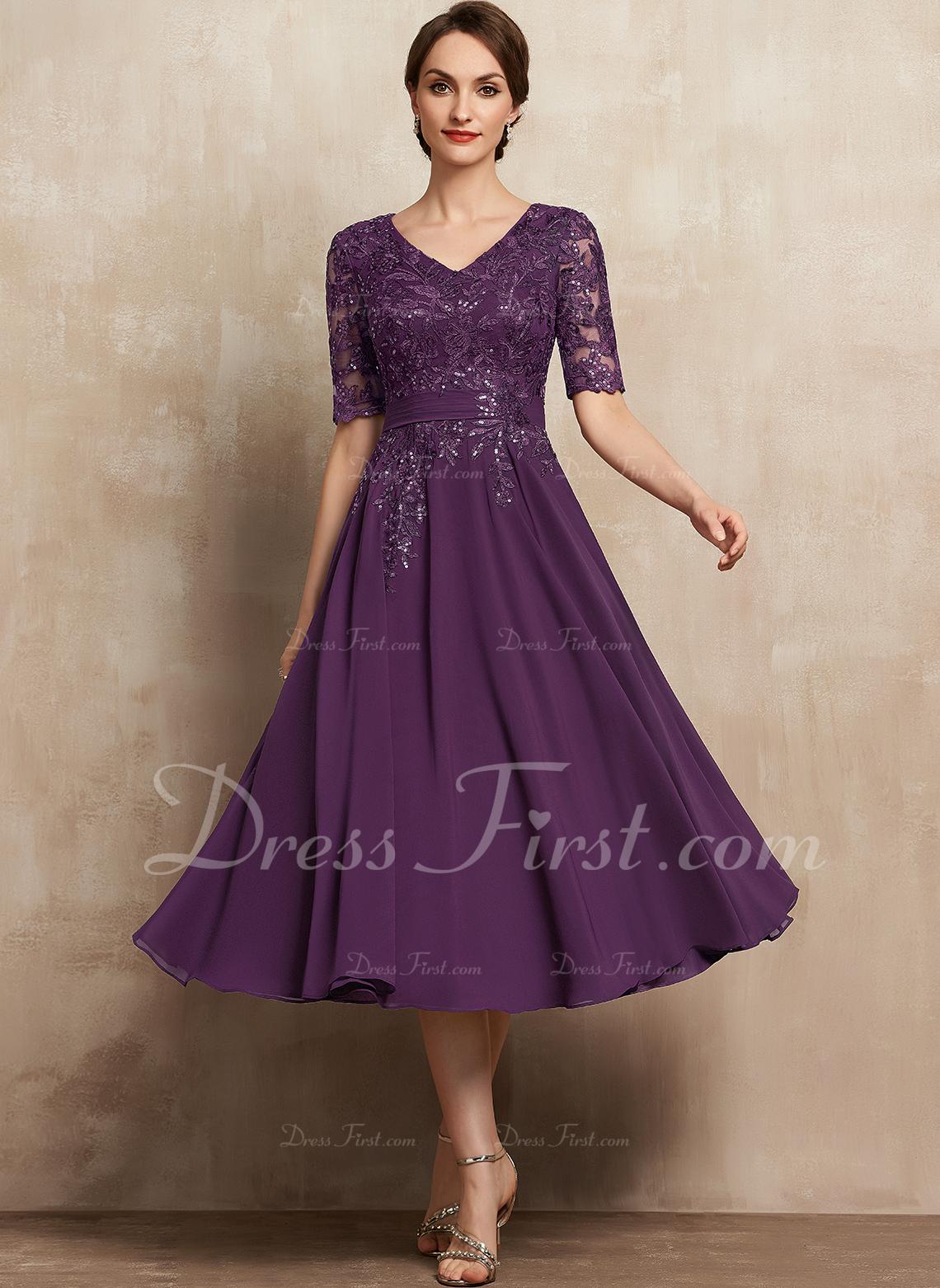 A-Line V-neck Tea-Length Chiffon Lace Cocktail Dress With Sequins