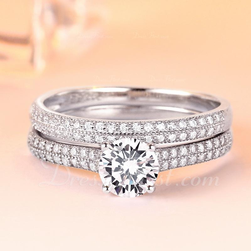Sterling Silver Cyrkonia Delicje Okrągłe Cięcie Pierścionek zaręczynowy Krążki Obietnica Zestawy ślubne