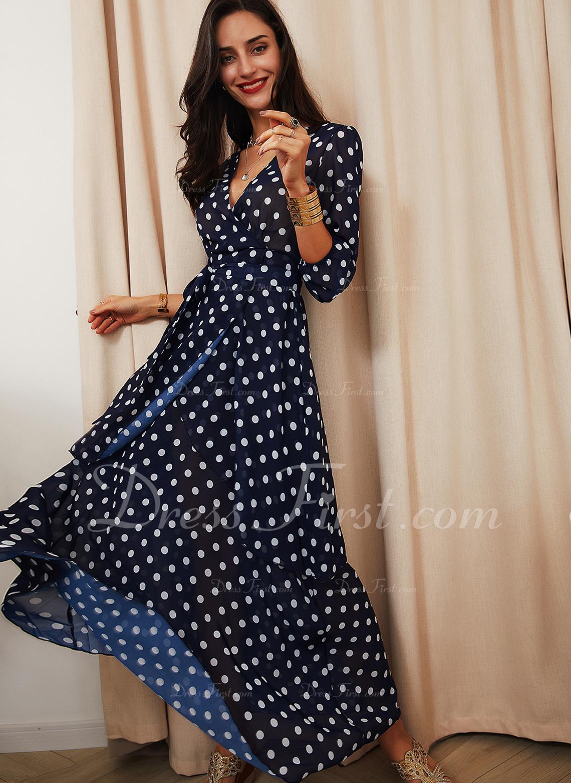 Polkaprik Kjole med A-linje 3/4 ærmer Maxi Elegant skater Mode kjoler