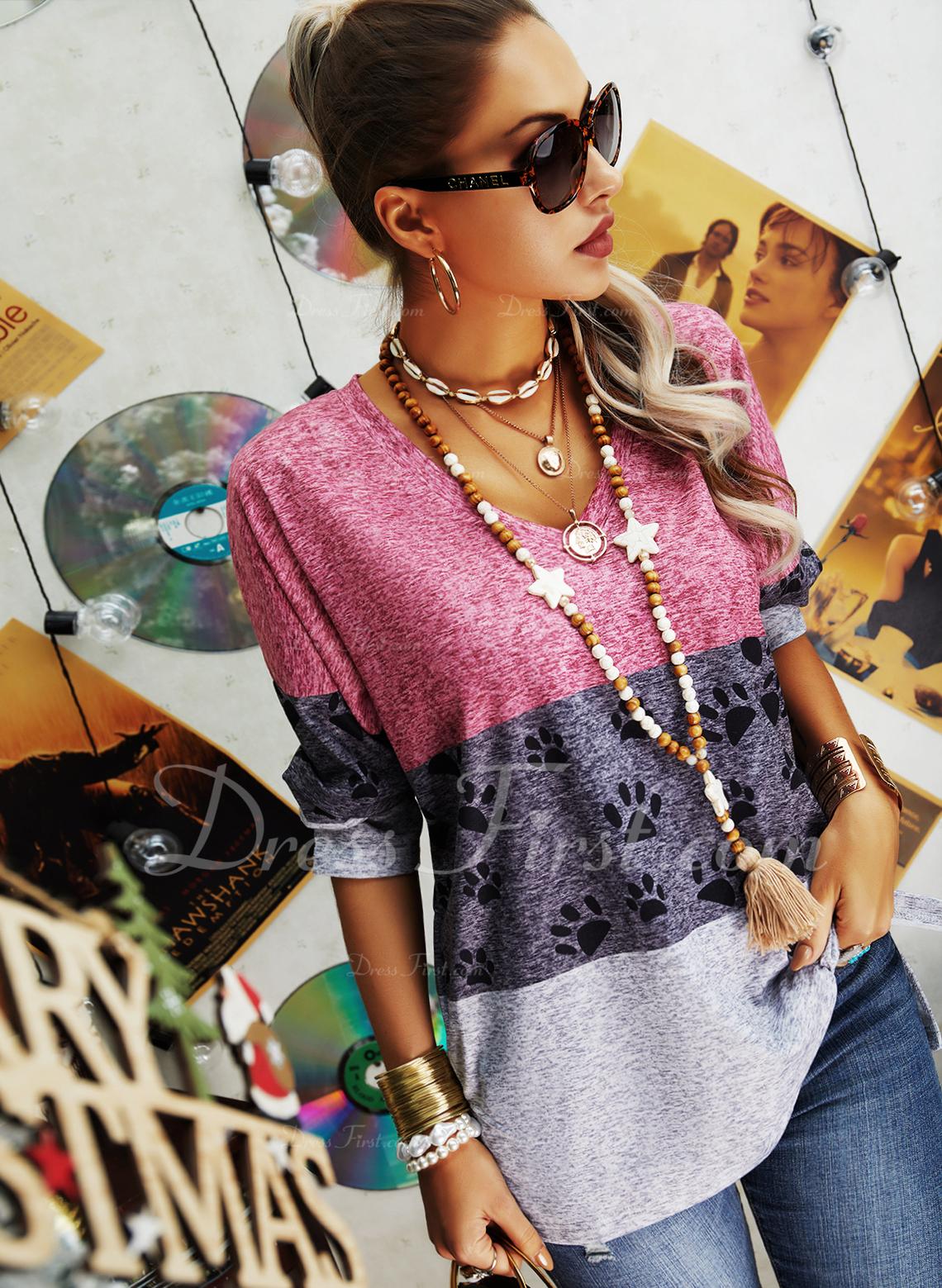 Animale Stampa Blocchi di colore Scollatura a V Maniche lunghe Casuale Camicie