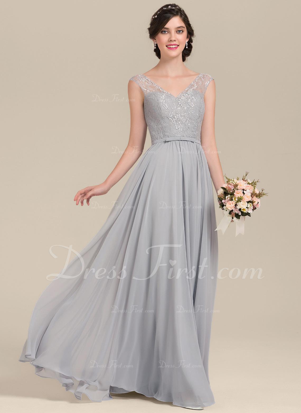 A-Line/Princess V-neck Floor-Length Chiffon Lace Bridesmaid Dress With Bow(s)