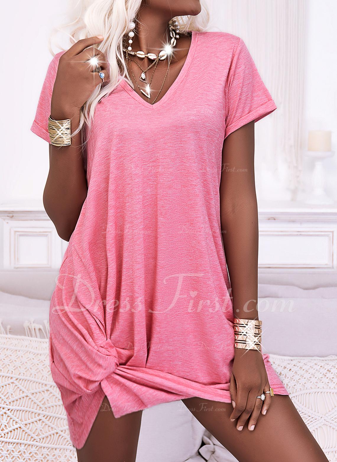 固体 シフトドレス 半袖 ミニ カジュアル Tシャツ ファッションドレス