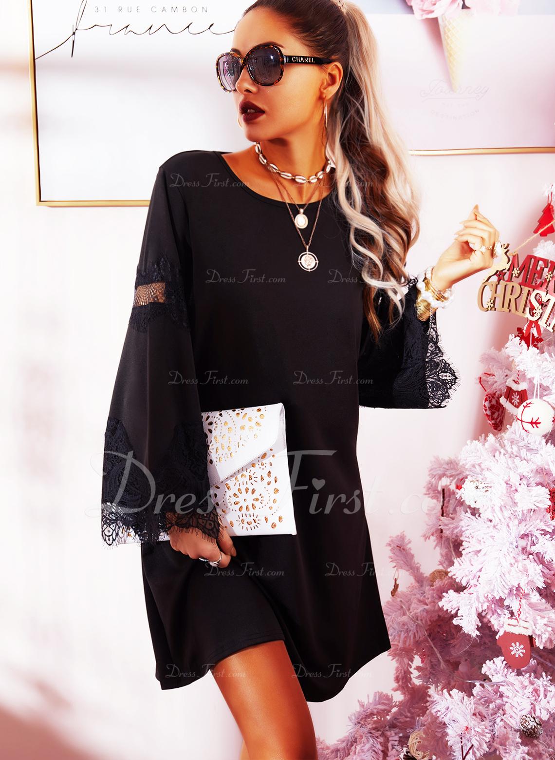 Blonder Solid Skiftekjoler Flare-ærmer Lange ærmer Mini Den lille sorte Casual Tunika Mode kjoler