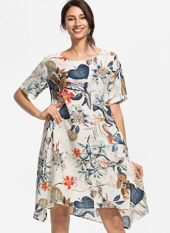 Mieszanki bawełniane Z Wydrukować Kolano Długość Sukienka