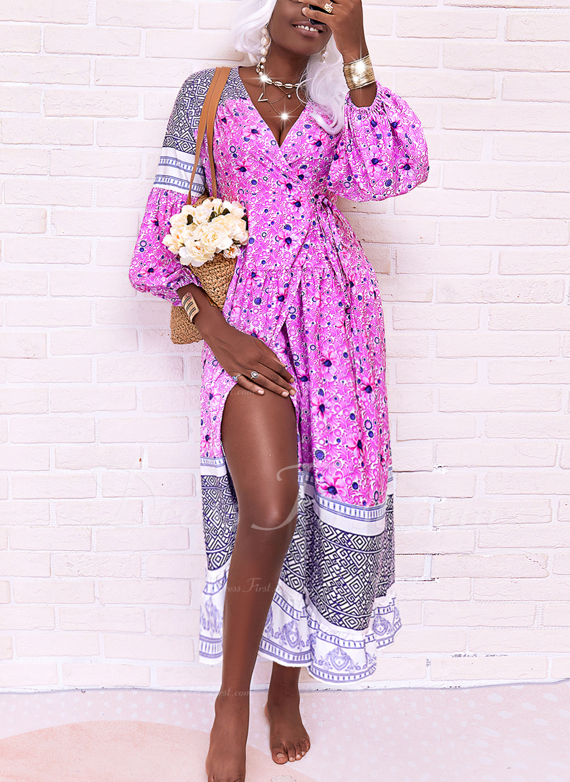 Floral Print A-line Long Sleeves Midi Boho Casual Vacation Skater Wrap Dresses