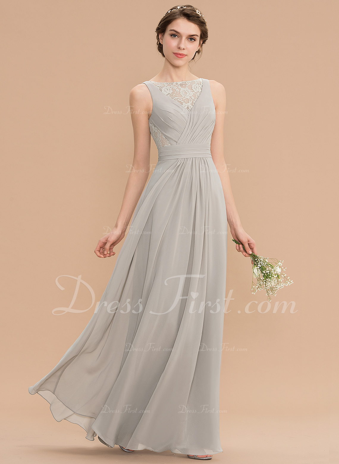 a86c2089829 A-Line Scoop Neck Floor-Length Chiffon Lace Bridesmaid Dress With Ruffle   176757
