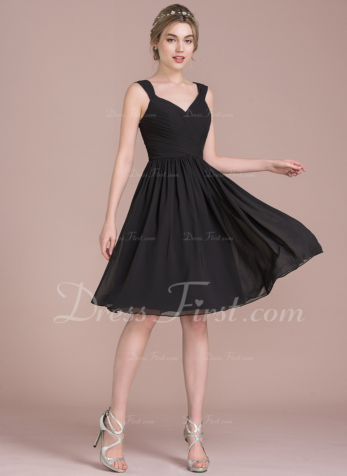 A lineprincess v neck knee length chiffon bridesmaid dress with bridesmaid dresses 105578 loading zoom ombrellifo Images