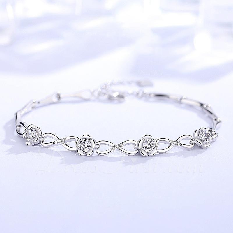Señoras' Elegante 925 plata de ley con Diamante Cubic zirconia Pulseras Amigos/La dama de honor