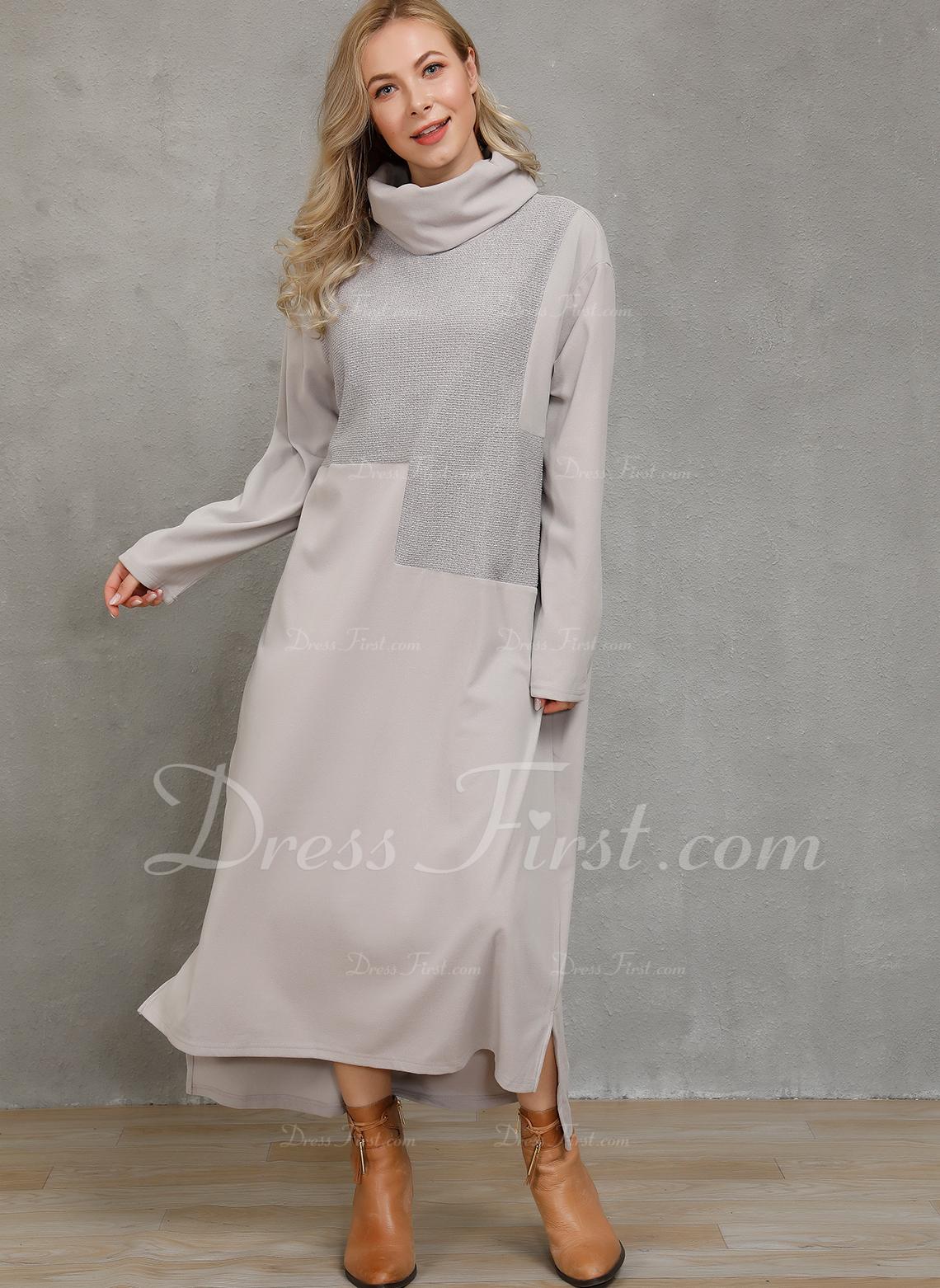 Solid Shiftklänningar Långa ärmar Maxi Fritids Modeklänningar