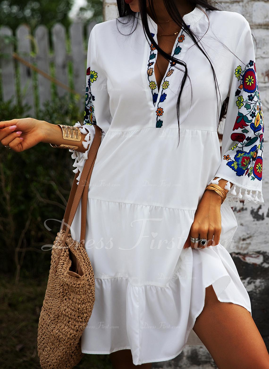 Blommig Print Shiftklänningar 3/4 ärmar Midi Fritids Semester Tunika Modeklänningar