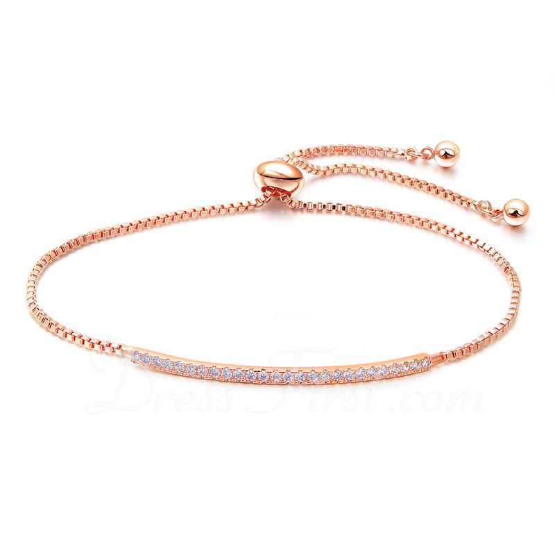 Antioxidante Cadena de enlace Bracelets De Mariée Bracelets de demoiselle .d'honneur con Cubic zirconia -