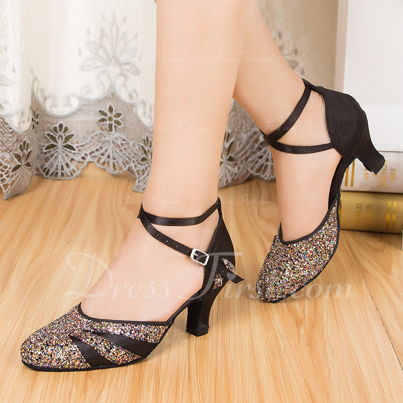 Women's Satin Sparkling Glitter Ballroom With Buckle Dance Shoes