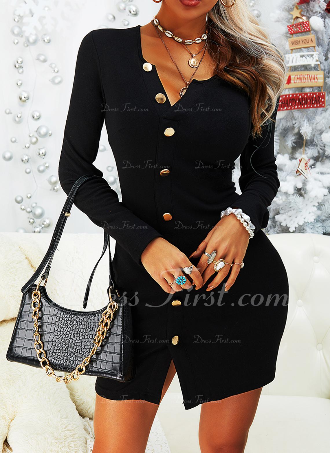 Solid Bodycon Lange ærmer Mini Den lille sorte Casual Mode kjoler