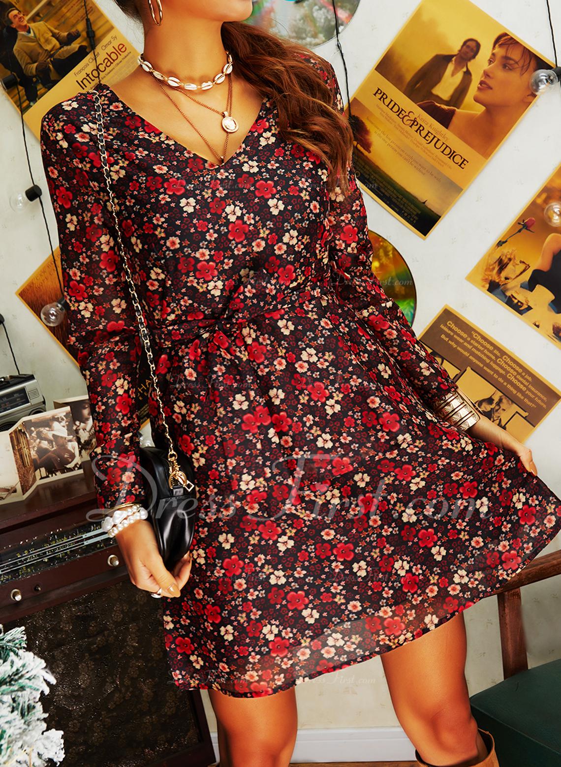 Floral Imprimeu Bir Çizgi Mâneci Lungi Mini gündelik Zarif Patenci Wrap Moda Elbiseler