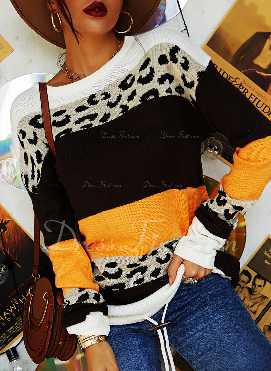 Rund-ringning Fritids Leopard Color Block Rand Tröjor