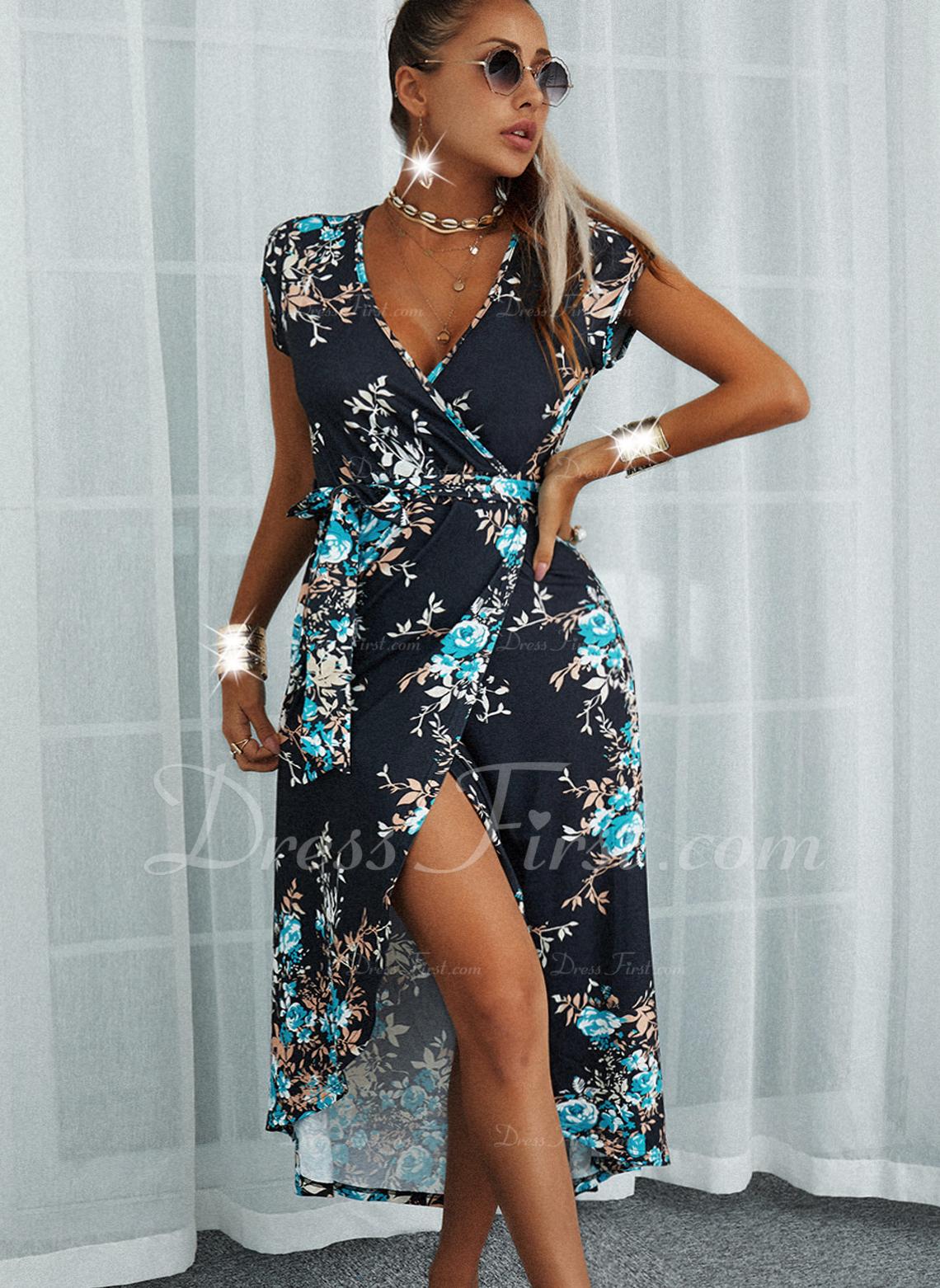 Kwiatowy Nadruk Sukienka Trapezowa Rękawy z kapturkami Asymetryczny Nieformalny Wakacyjna Łyżwiaż Okrycie Modne Suknie