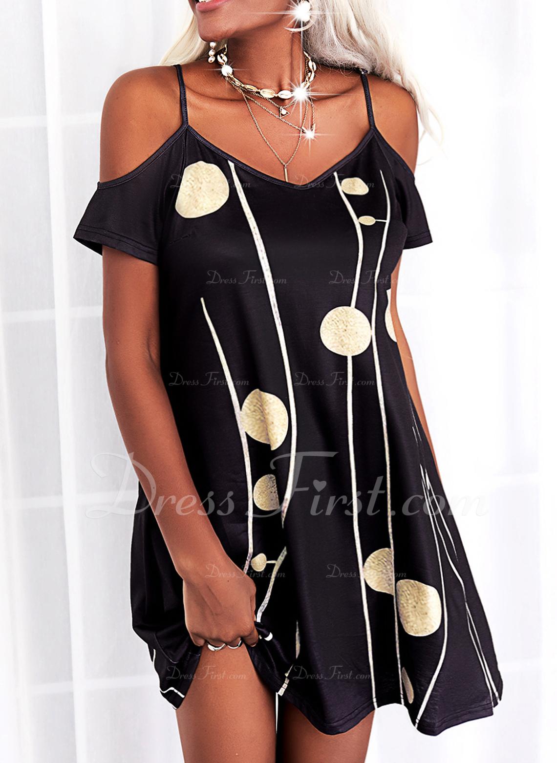 Impresión Vestidos sueltos Manga Corta Mini Casual Túnica Vestidos de moda