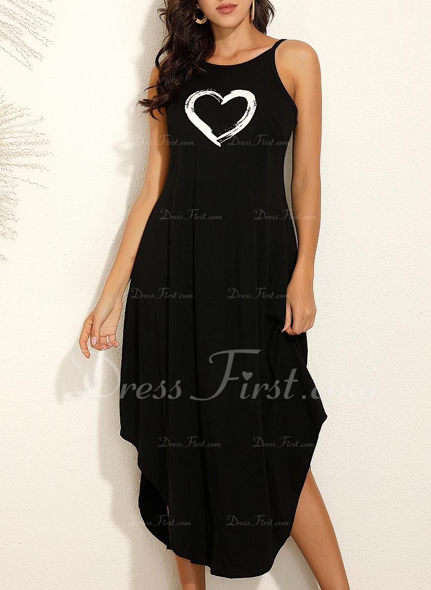 Imprimeu Shift Elbiseleri Kolsuz Maxi gündelik Tatil Tip Moda Elbiseler
