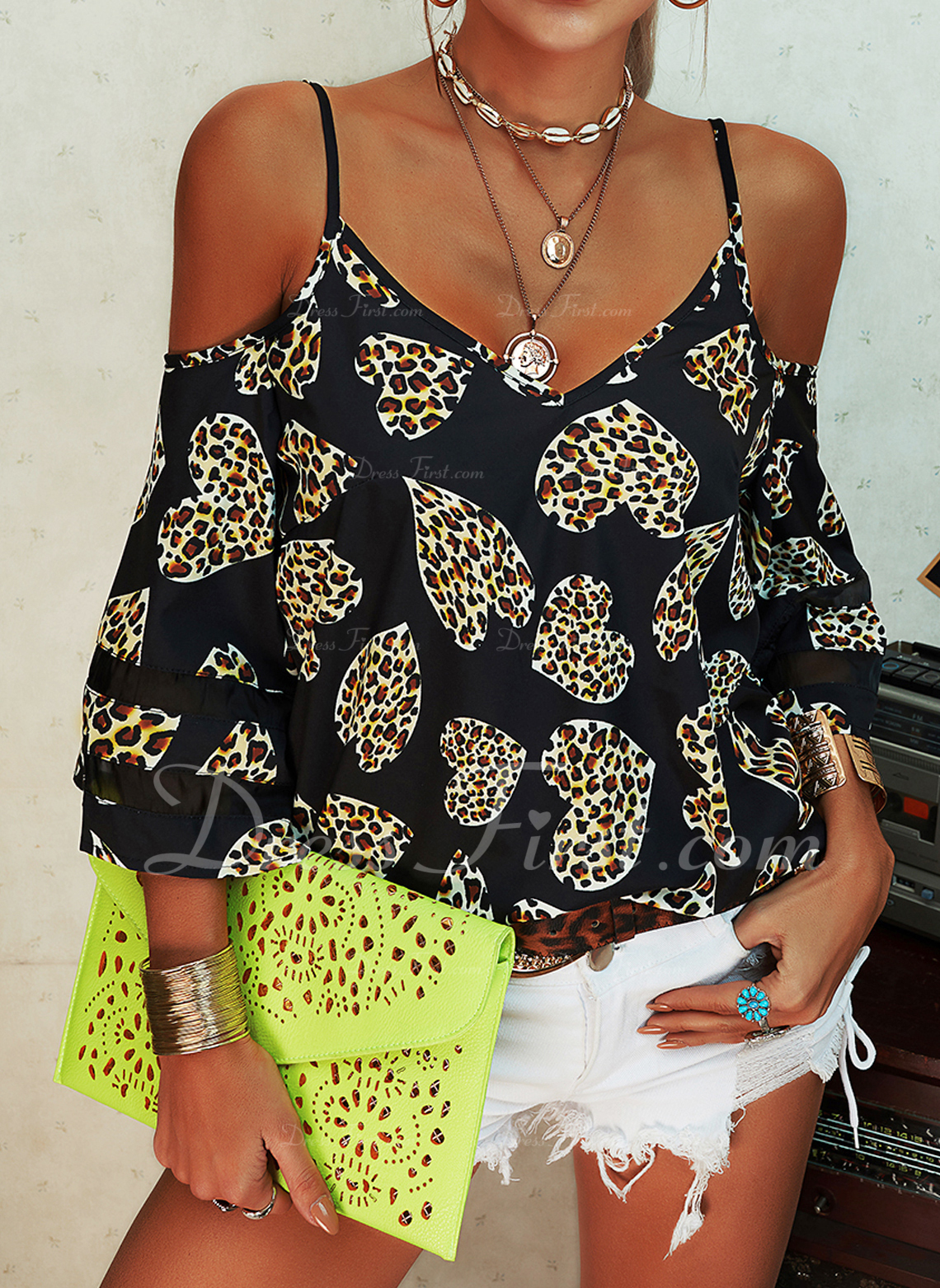 Leopard Print Heart Cold Shoulder 3/4 Sleeves Casual