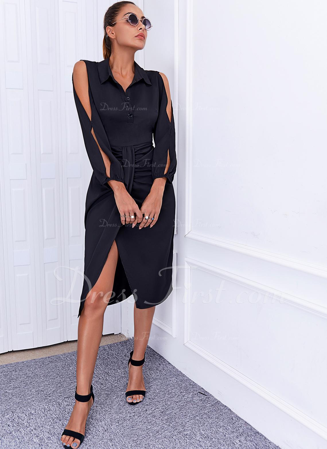 Sólido Cubierta Manga Larga Midi Pequeños Negros Elegante Vestidos de moda