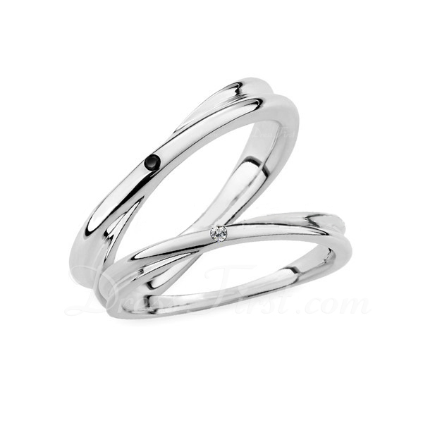 Sterling Silver Cyrkonia Okrągłe Cięcie Pierścienie par