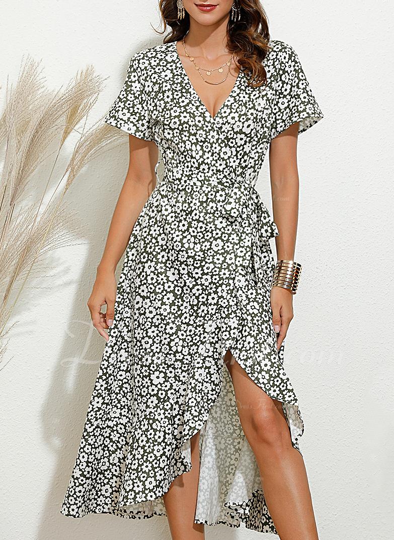 Floral Imprimeu Bir Çizgi Mâneci Scurte Midi gündelik Zarif Patenci Wrap Moda Elbiseler