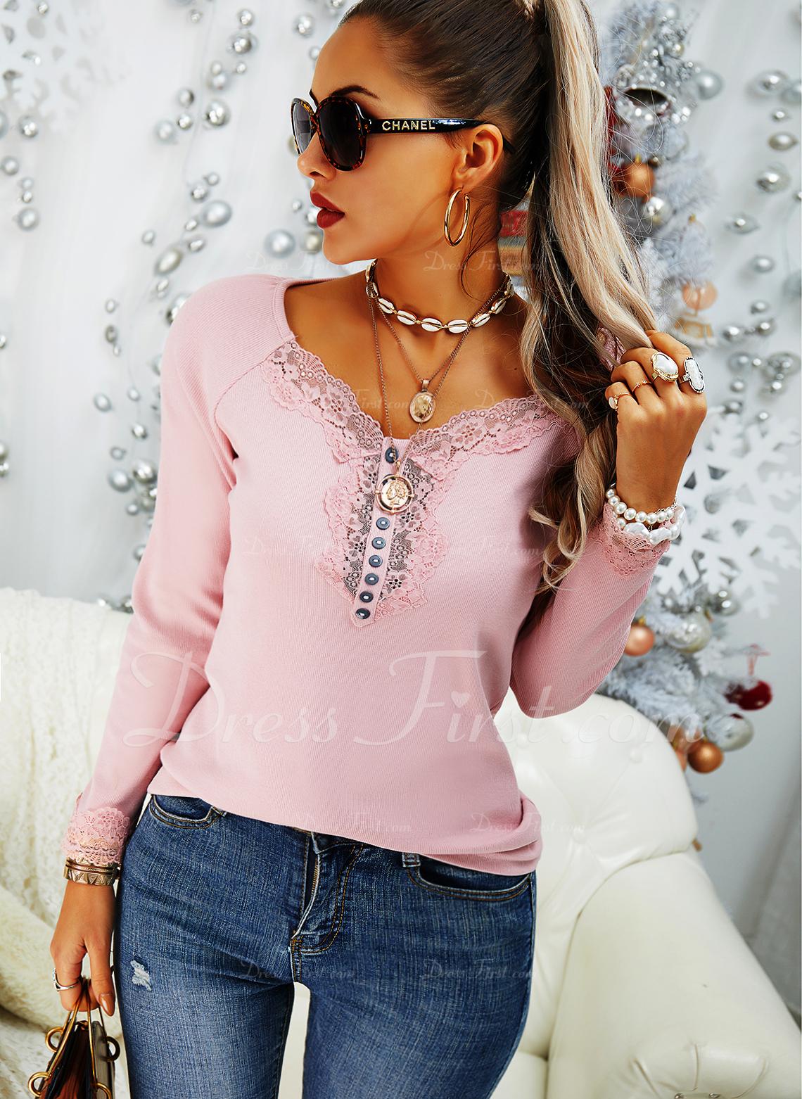 Blonder Solid V-hals Lange ærmer Button-up Casual Skjorter