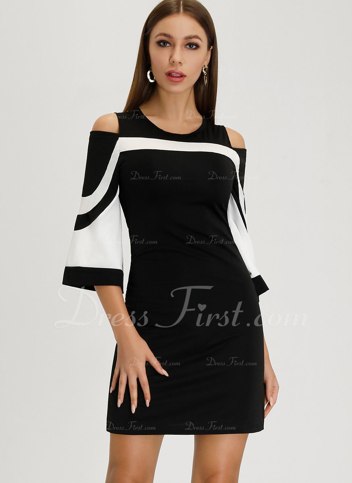 Sheath Round Neck Polyester Dresses