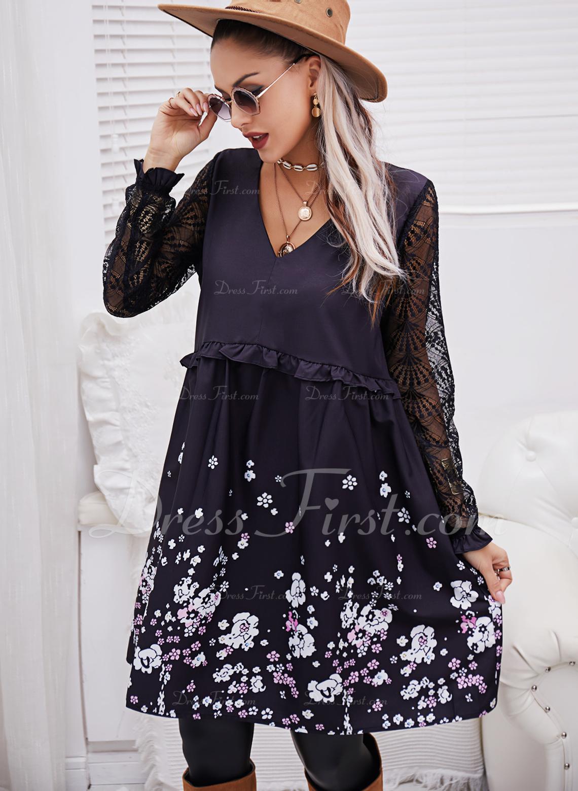 フローラル レース 印刷 シフトドレス 長袖 ミディ カジュアル チュニック ファッションドレス