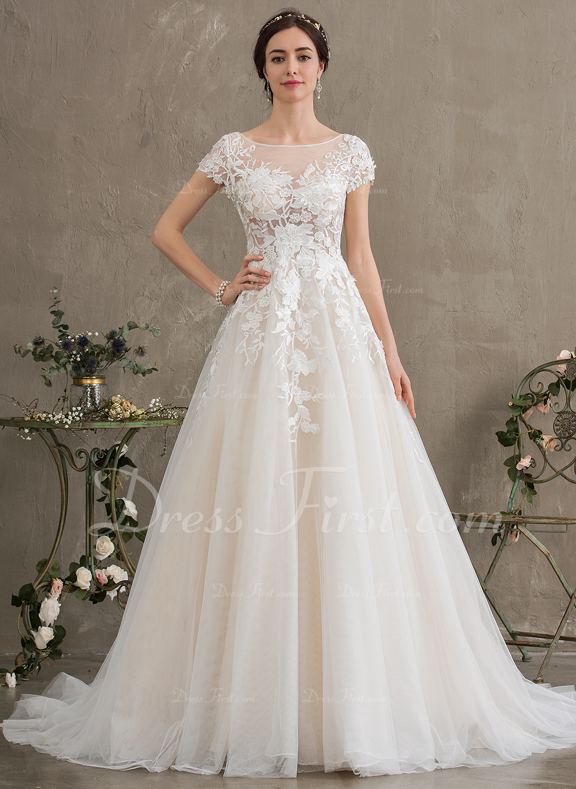 ac147ade628 Ball-Gown Princess Illusion Court Train Tulle Wedding Dress  186393
