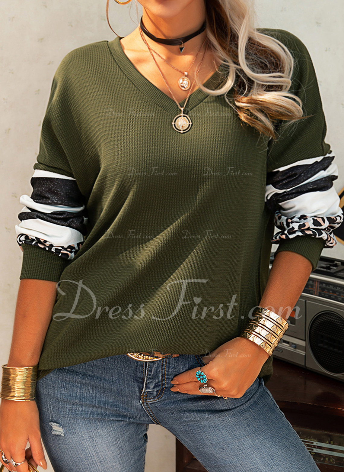Leopard Striped V-Neck Long Sleeves Casual Blouses