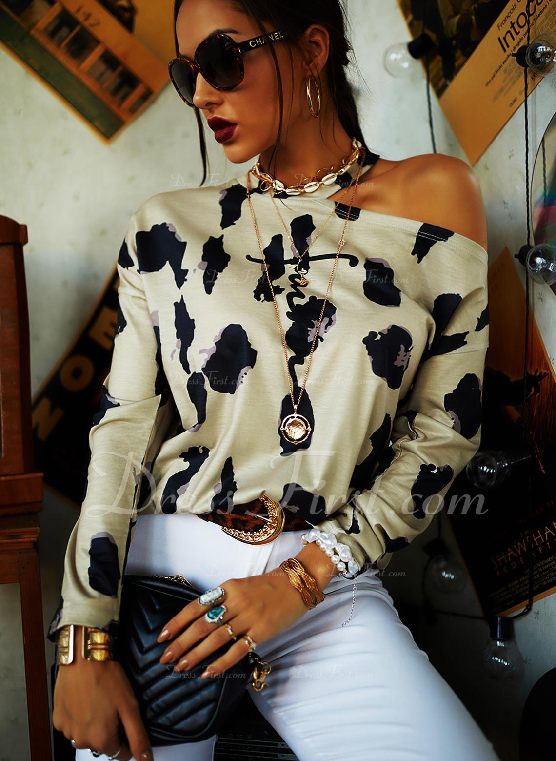 Leopard Figur Print One-Shoulder Lange ærmer Casual Skjorter