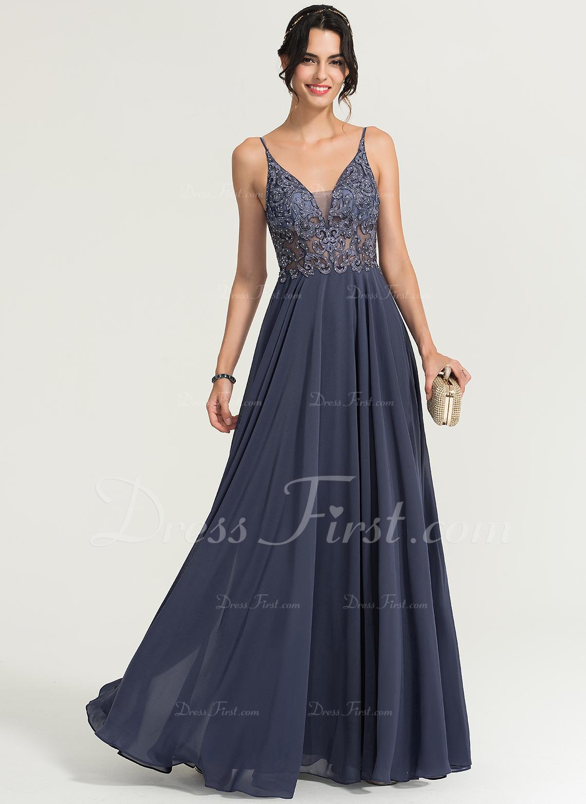 A-Line V-neck Floor-Length Chiffon Prom Dresses With Beading
