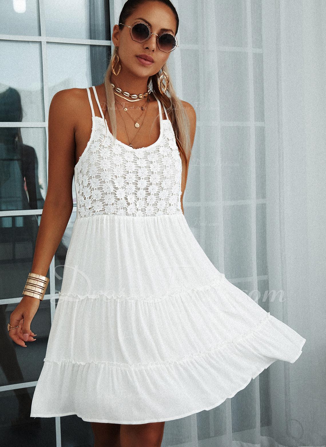 Encaje Sólido Vestidos sueltos Sin mangas Mini Casual Tipo Vestidos de moda