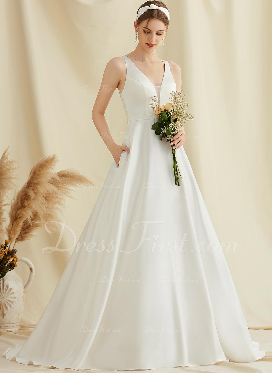 Balklänning/Prinsessa V-ringning Sweep släp Satäng Spets Bröllopsklänning med Fickor